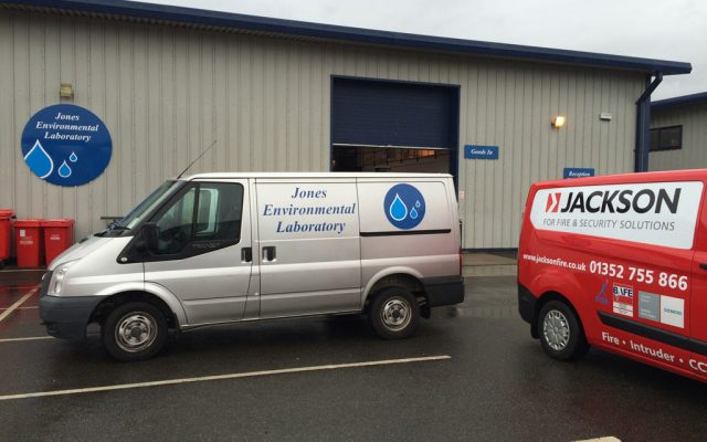 Fire extinguisher servicing and installation at a North Wales laboratory